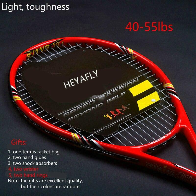 Amateur de haute qualité raquette de tennis avec carbone net raquette raquette Cadeaux 1 raquette sacs et 2 amortisseurs hommes et femmes raquette