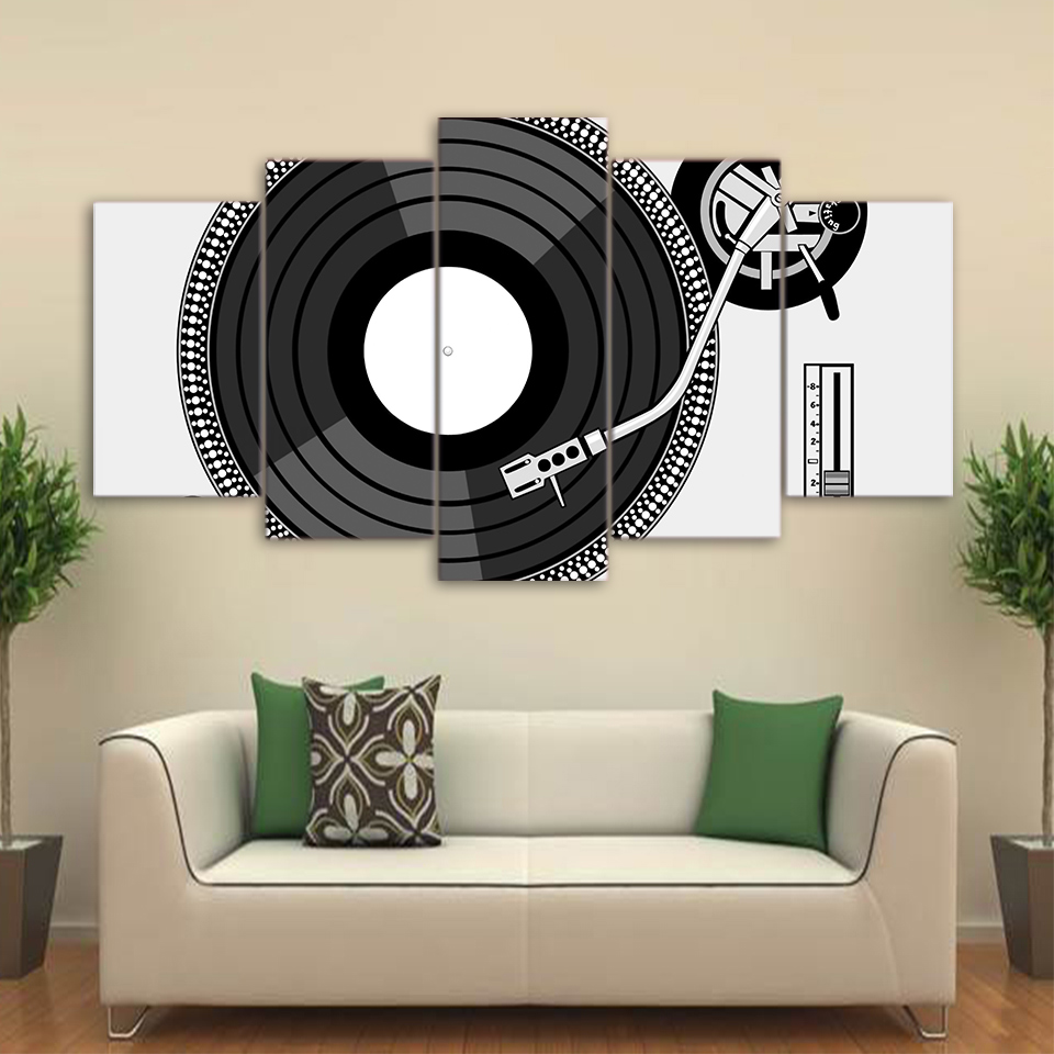 Dj Turntable Record Player Vinyl Disc Canvas Wall Art Picture Print