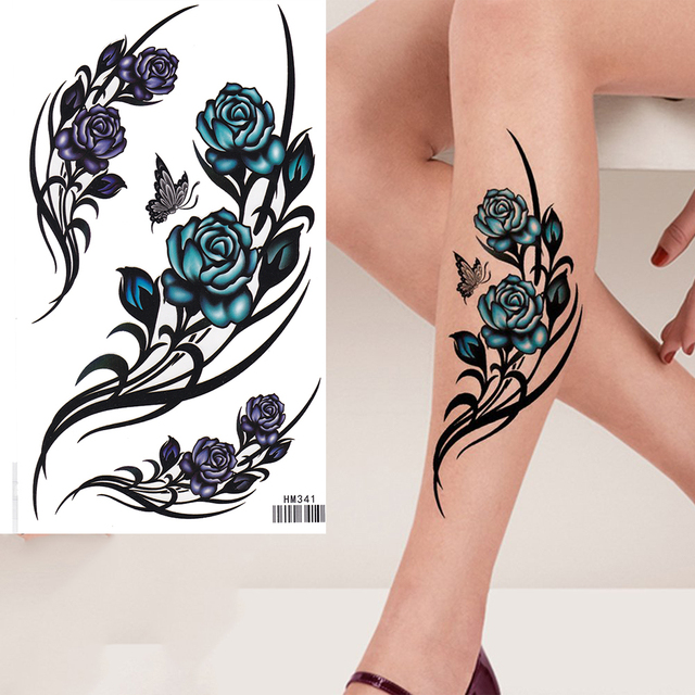 king horse purple green rose flowers tattoo sleeve flash temporary tattoo sticker in temporary. Black Bedroom Furniture Sets. Home Design Ideas
