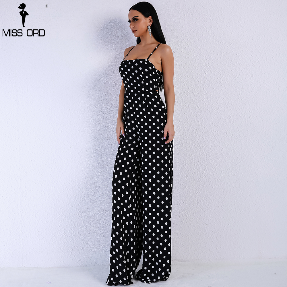 Missord 2020 Women Sexy Elegant  Off Shoulder Dot Rompers Sleeveless Straps Backless Tie Jumpsuit FT8833-4
