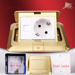 Image 5 - KEKA floor socket EU Plug power socket all bronze gold panel pop socket with rj45 computer Outlet Waterproof embedded ground RU