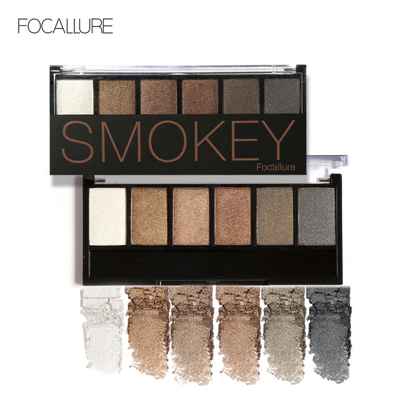 Focallure Glitter Shimmer Eye Shadow 6 Color Polvo Suave Natural - Maquillaje