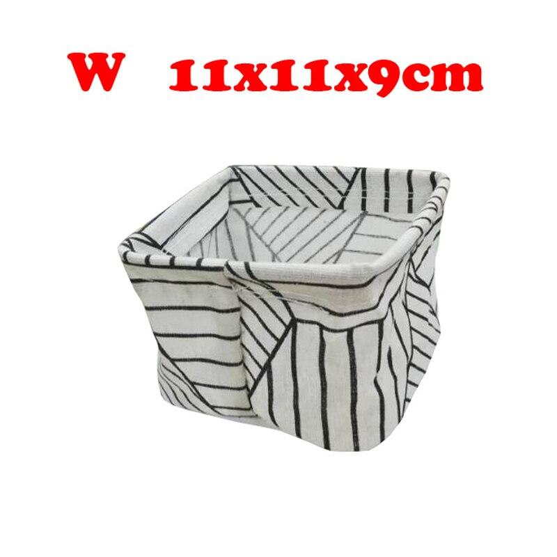 Настольный ящик для хранения с милым принтом, водонепроницаемый органайзер, хлопок, лен, корзина для хранения мелочей, шкаф, нижнее белье, сумка для хранения - Цвет: W