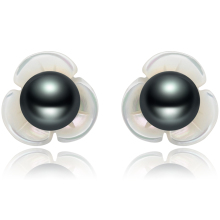 FEIGE 6 7mm Black Freshwater Pearl Flower Shape Shell 925 Sterling Silver Stud Earrings For Women