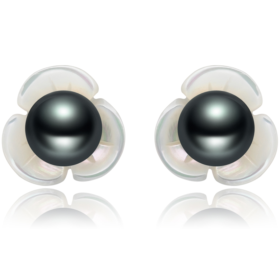 FEIGE 6 7mm Black Freshwater Pearl Flower Shape Shell 925 Sterling Silver Stud font b Earrings