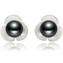 FEIGE 6-7mm Black Freshwater Pearl Flower Shape Shell 925 Sterling Silver Stud Earrings For Women Exclusive Design Fine Jewelry