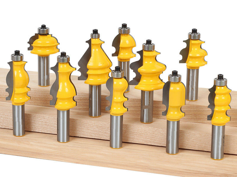 10pcs/set Architectural Molding Router Bit Set-1/2 Shank woodworking milling cutter/carbide end mill/ cnc router bits for wood [15 pcs router bit set] woodworking milling cutters for wood router woodworking machine free shipping yg8 carbide wooden box