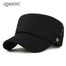 QDKPOTC 2018 New Military Hats Washed Flat Top Cap Cotton Simple And Generous  Mens Adjustable Casual For Men