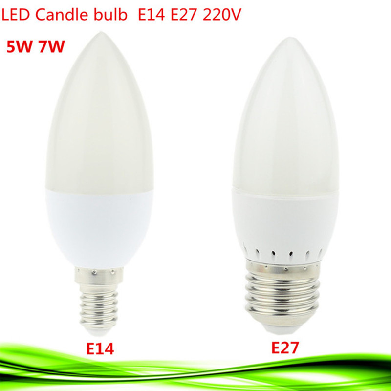 1X E14 Led Candle Lamp Energy Saving Lamp Lights 5W 7W E14 E27 220V LEDs Chandelier Light Spotlight Bombilla Led For A Home Deco