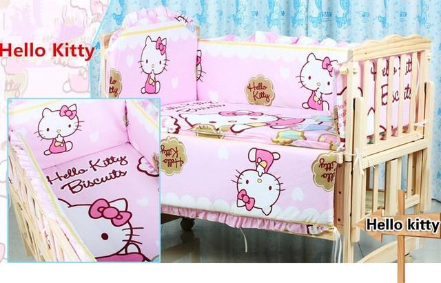 Promoción! 10 unids Hello Kitty cuna lecho 100% algodón del lecho del bebé ( parachoques + colchón + almohada + funda nórdica )