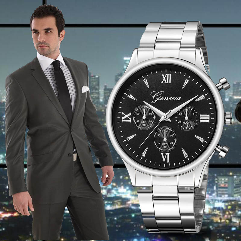 Automatic Date Quartz Men Watch Geneva Male Luxury Brand Stainless Steel Sport Business Men Wrist Watch Clock Reloj Hombre Saat