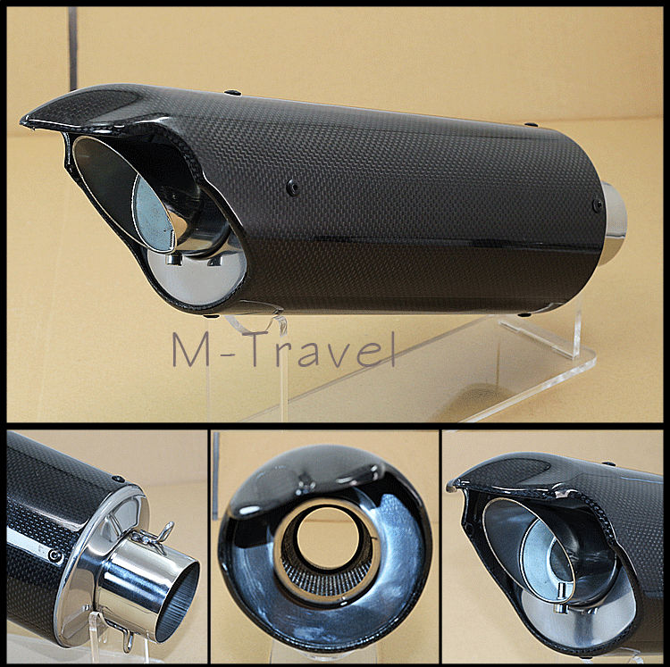 ФОТО  Universal Modified Motorcycle Carbon Fiber Exhaust Pipe Back Pressure High Temperature Resistant Stainless-s Muffler