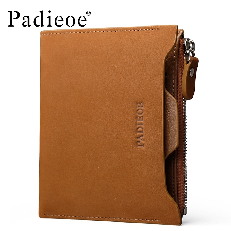 ФОТО Padieoe Mens Wallet Leather Genuine Fashion Designer Zipper Purses High Quality Brand Wallets Men Business Clutch Wallets Men