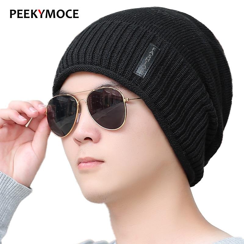 Winter Skullies Beanies For Women Plus Velet Warm Hats Fashion Knitting Cap Hat Cap Leisure Men bonnet casual Unisex Winter Hats