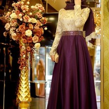 Arabic Evening Dresses Long Sleeve Eggplant Beaded Waisted Color-Matching  Muslim Prom Dresses 2019 New 0d06f60ec113