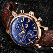 2019 LIGE Business Leather Fashion Waterproof Quartz Watch For Mens Wat
