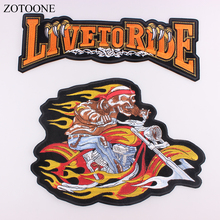DIY Large Punk Bike Embroidered Patches Motorcycle Patch LIVE TO RIDE Fire Skull Band Iron On for Clothes Jacket Badge H