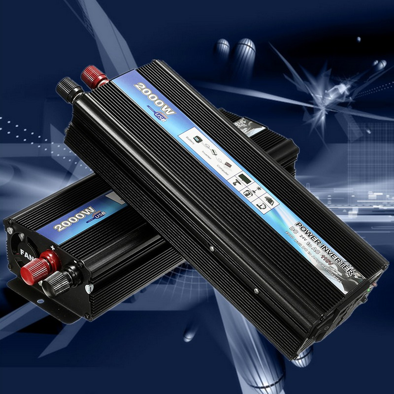 ФОТО USB 2000W Watt DC 12V/24V to AC 110V Portable Car Power Inverter Charger Converter Adapter Modified Sine Wave