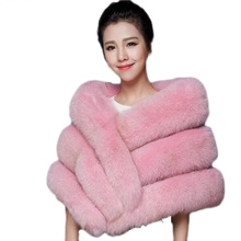 Real mink fur shawl cape coat fashion style women imitation fox 2016 female