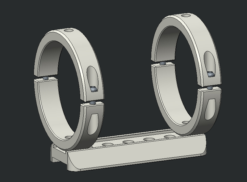 New Telescope Finder Guider Tube Rings with dovetail mounting plate Dia.52mm telescope 98 100mm cnc tube rings pair