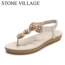 New Summer Bohemia Beach Leisure Wood Buckle Comfortable Flat Sandals Women Flower Crystal Flip Flop Women Shoes Large Size