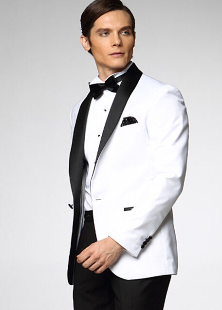 Online Shop New men white suits slim fit One Button Black Satin ...