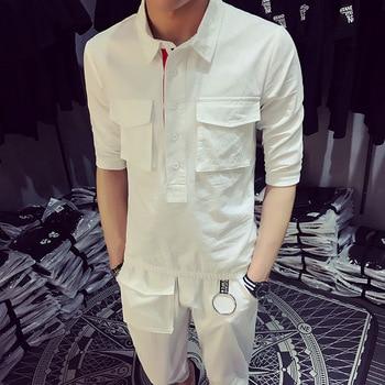 Korean Version New Hair Stylist Waiter Overalls Half Shirt Men Fashion Slim Shirts Tapered Nine-point Pants Suits (shirt+pants)