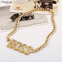 Initial Necklace Jewelry Wholesale Vintage Men Women Jewellery Pendants With Chain Letter Punk Hip Hop Collar