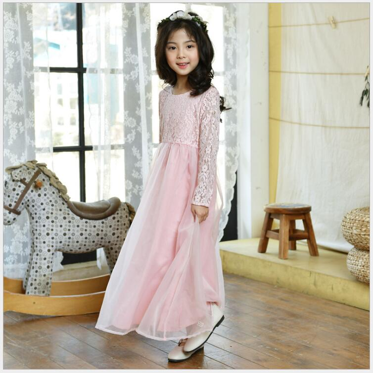 Teenager girls lace long sleeve princes dress large sizes long frock elegant birthday and winding dress 10 11 12 years old girls girl