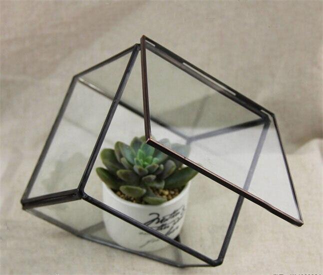 수제 작은 유리 테라리움 큐브 꽃병 뚜껑, 유리 웨딩 장식 꽃병, 광장 공기 식물 테라리움 홈 장식