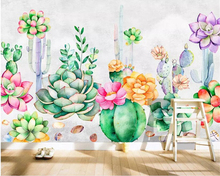 Beibehang Custom wallpaper hand-painted fresh garden succulent plant Prickly pear flowers background wall painting