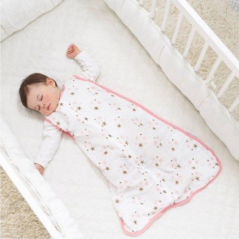 100% Mousseline de Coton Bébé Mince Sommeil Sac De Couchage Mod Pour la literie D'été Bébé Saco De Dormir Par Bebe Sacs Sleepsacks