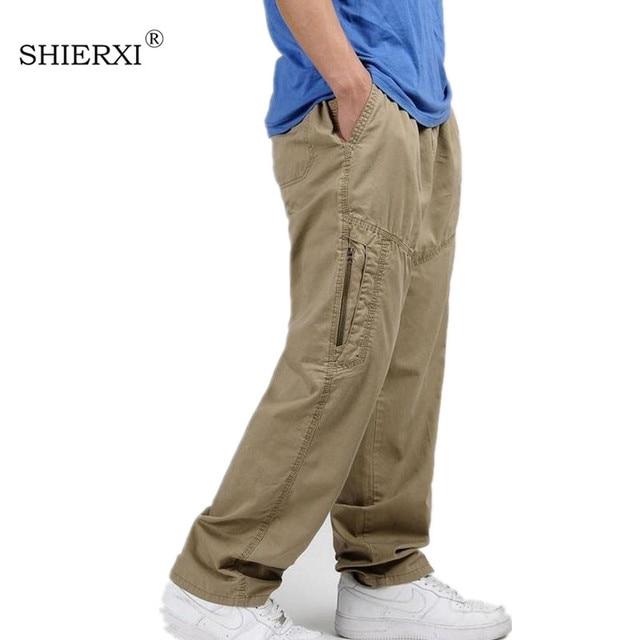 9ad8c3d8b08 New Spring Summer Plus Size Men Cargo Pants Cotton Loose Trousers Men s  Pants 3XL 4XL 5XL 6XL