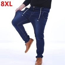Plus size male winter jeans pants 150kg  8XL 7XL 6XL thick trousers high elastic waist pants thickening fat