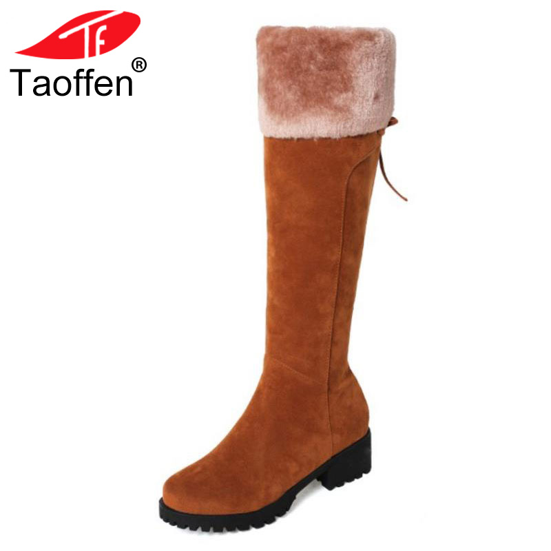 TAOFFEN Size 32-44 Women Knee Snow Boots Zipper High Heel Boots Thick Fur Shoes In Cold Winter Boots Long Botas Women Footwears 2018 winter women s boots knee high boots thick heel high heeled long boots cotton padded warm snow boots shoes woman botas