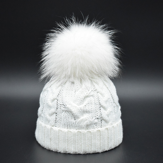 Super Luxury 22cm Pompon Baby Hat Boys Girls Warm Raccoon Fur Bobble Beanie  Kids Wool Knitted 98062cf3313