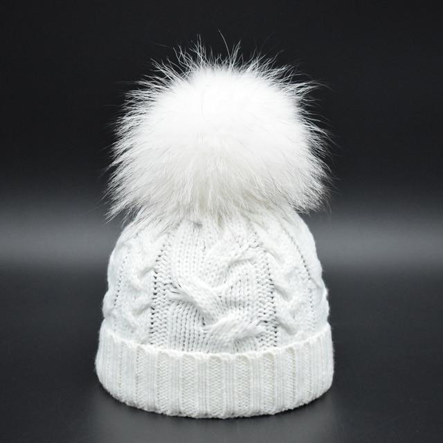 Super Luxury 22cm Pompon Baby Hat Boys Girls Warm Raccoon Fur Bobble Beanie  Kids Wool Knitted 130b3ffb38c