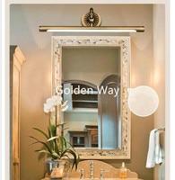 Modern Europe Style LED Copper Color Mirror Headlight Bathroom Cabinet Lamp Retro American Bed Room Makeup Lamp 45cm/58cm/75cm