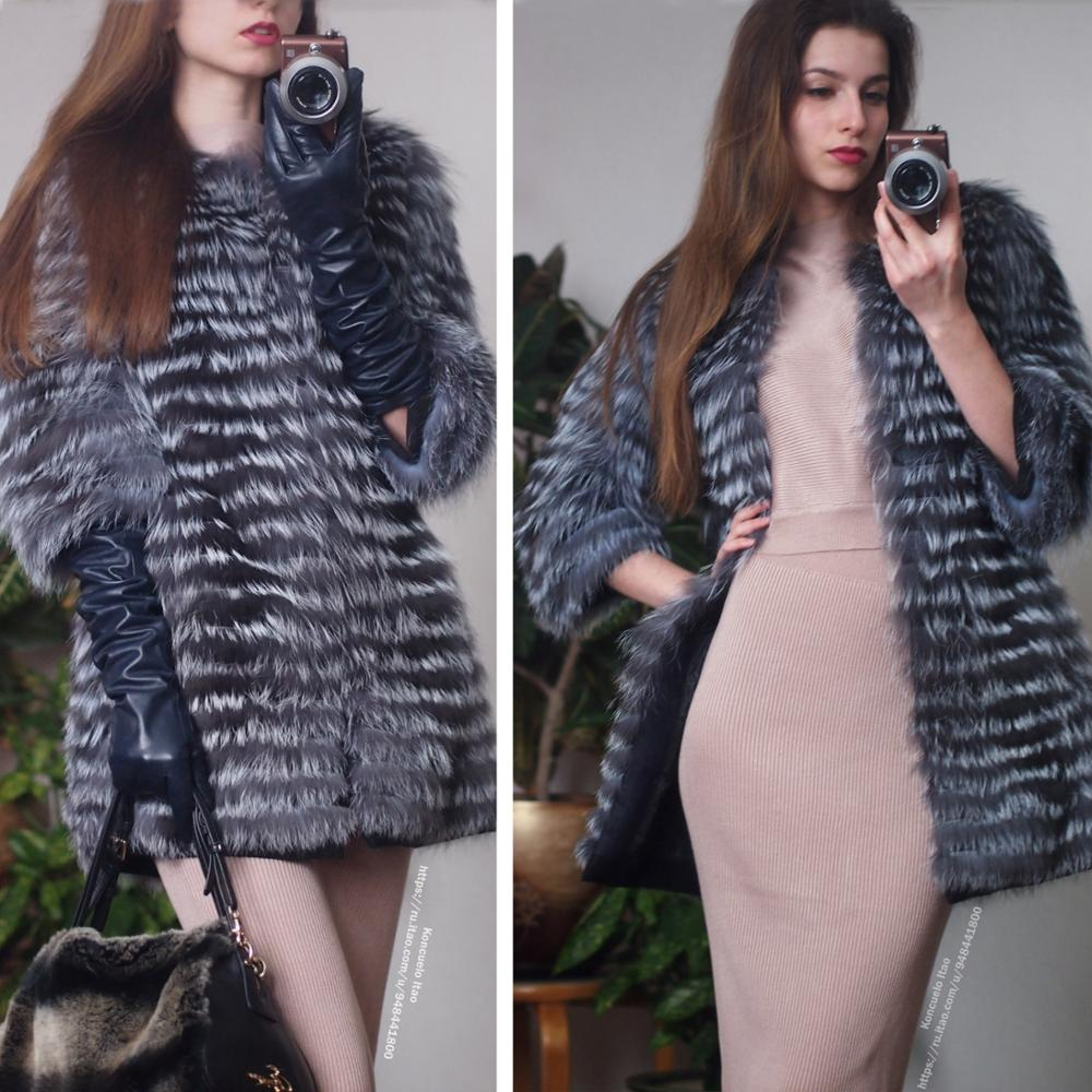 2019 nouvelle mode Réel Silver Fox Manteau De Fourrure Pour Les Femmes Hiver Chaud Slim Bandes Style Personnalisé grande taille