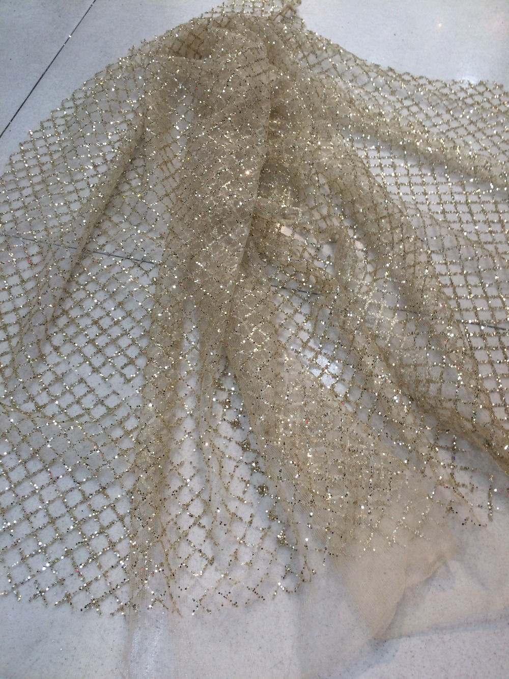 New Arrival French Lace Fabric High Quality LJY 31714 African Tulle Lace Fabric With glitter for