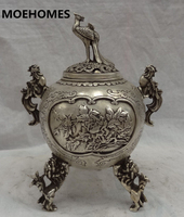 Moehomes Тибет Silver Bird Fly Павлин Глава Статуя Феникс Львиная Семья украшения металла ремесленных Ладан курильница