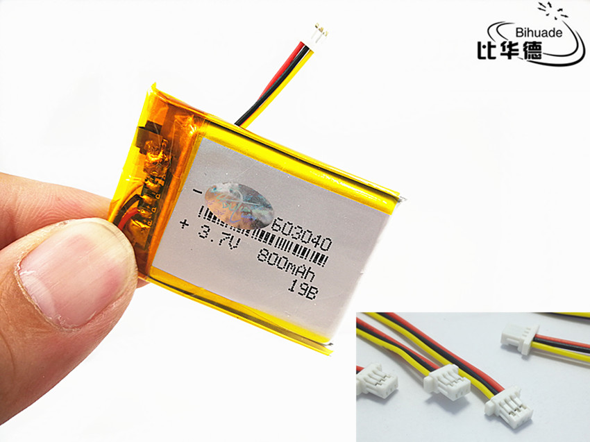 JST PH 1.0mm 3 Pin Liter Energy Battery 3.7V,800mAH 603040 Polymer Lithium Ion / Li-ion Battery For Tablet Pc BANK,GPS,mp3,mp4