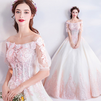 Elegant Off the Shoulder 3D Flowers Appliqued Ball Gown Quinceanera Dress 2019 Short Sleeve Debutante Dress Vestido de 15 anos