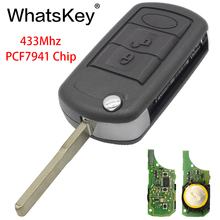 WhatsKey 433/315Mhz PCF7941/ID46 Chip 3 Buttons Flip Car Key Remote For Land Rover Range Discovery Freelander