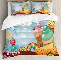 Ice Cream Duvet Cover Set Dessert Land with Rainbow Candies Lollipop Trees Cupcake Mountains Cartoon, 4 Piece Bedding Set
