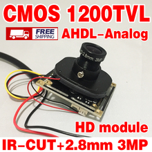 Real 1200TVL HD Color 1/4CMOS FH8510+3006 Analog 960P cvbs Finished Monitor chip module 2.8mm Wide Angle 3.0mp lens ir-cut cable
