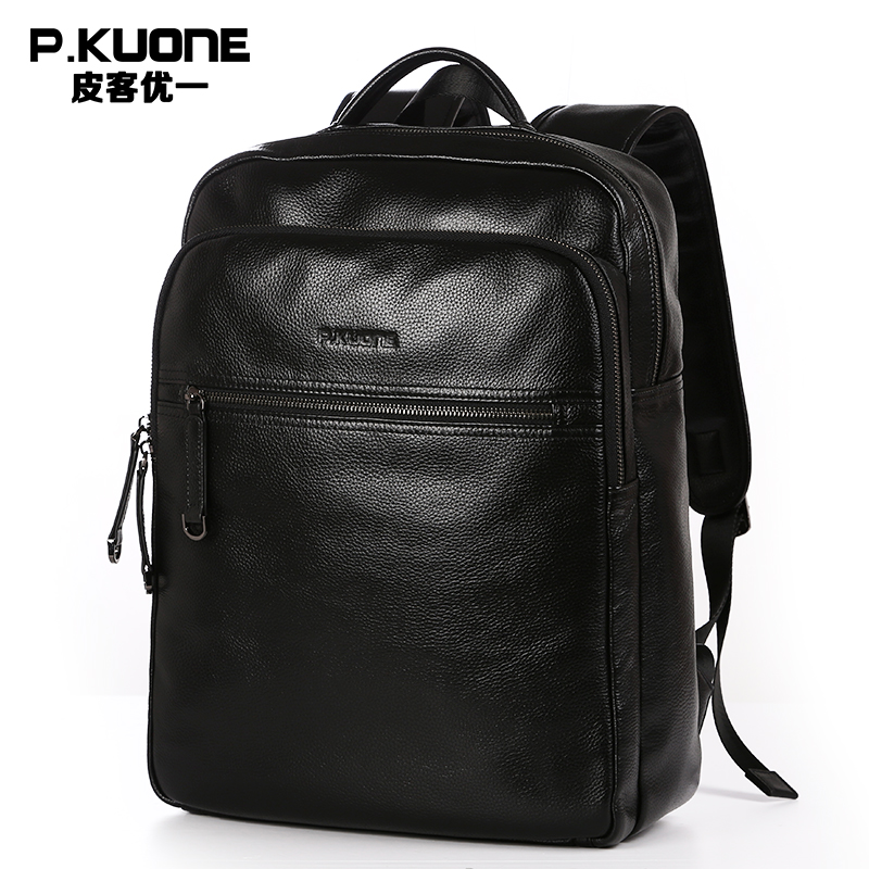 все цены на P.KUONE 2017 New Fashion Men Luxury Male Bag High Quality Waterproof Laptop Messenger Travel Backpack School Bag Genuine Leather