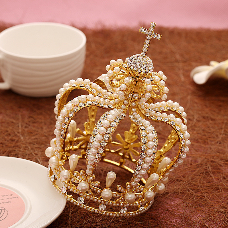 все цены на Gorgeous Pearl Silver/Gold Wedding Bridal Queen King Crown For Bride Tiara Women Diadem Hair Ornaments Head Jewelry Accessories