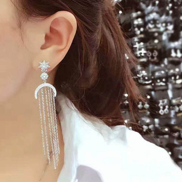 Europe fashion trend of the new tassel long star crescent temperament luxury needle earrings 447