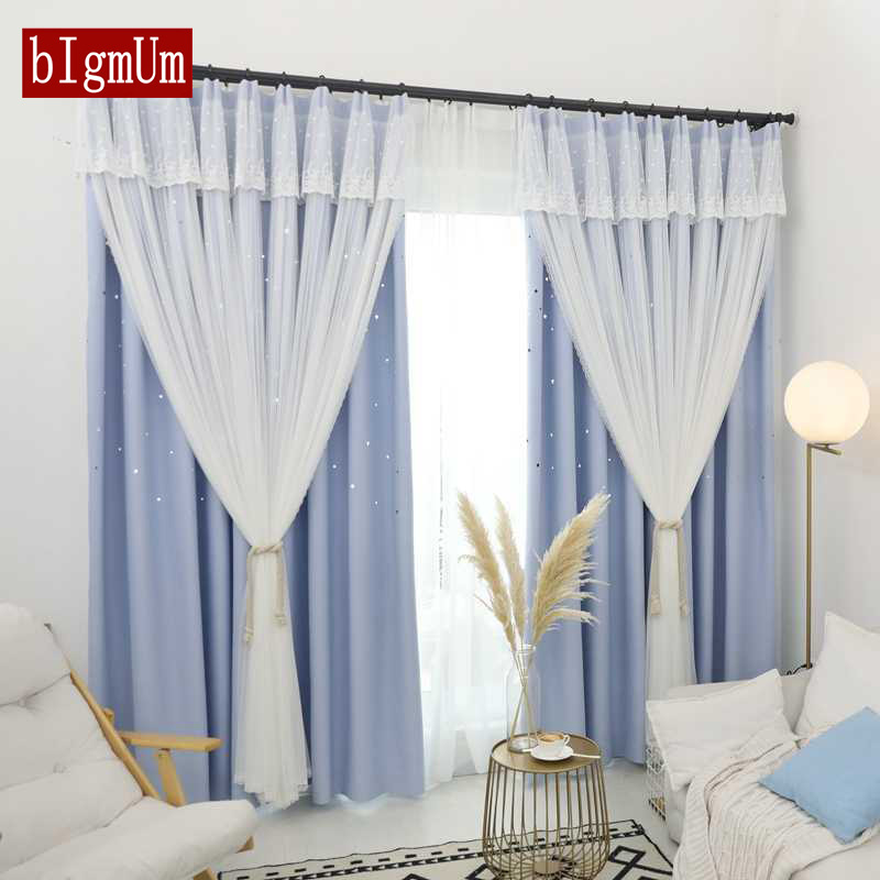 Romantic Double-layer Hollow-out Stars Curtain Kids Bedroom Curtains Pink/Grey Sheer Window Blackout Curtain for Living Room window valance